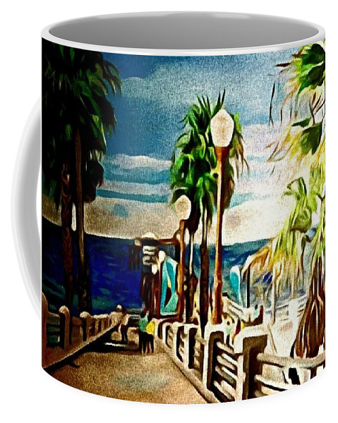 Landscape Coffee Mug featuring the painting Oceanside Peir by Andrew Johnson