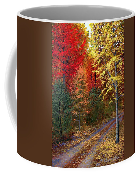 Landscape Coffee Mug featuring the painting October Road by Frank Wilson