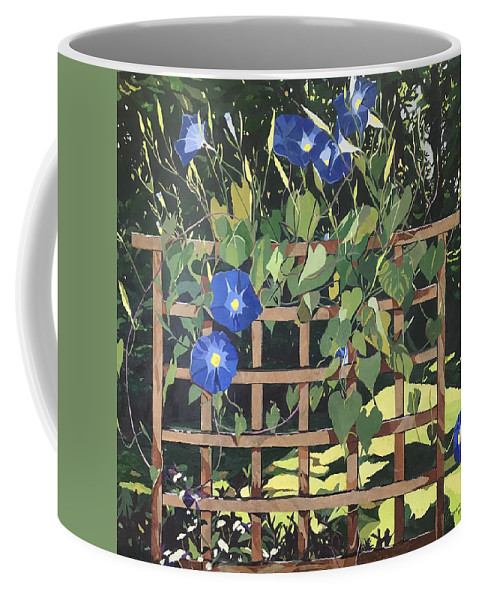 Floral Coffee Mug featuring the mixed media Oh Morning Glories by Leah Tomaino