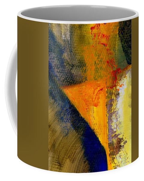 Rustic Coffee Mug featuring the painting Orange and Blue Color Study by Michelle Calkins