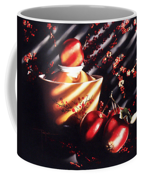 Oriental Coffee Mug featuring the pastel Ornamental Crabapples by Dianna Ponting