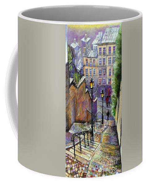 Cityscape Coffee Mug featuring the painting Paris Montmartre Steps by Yuriy Shevchuk