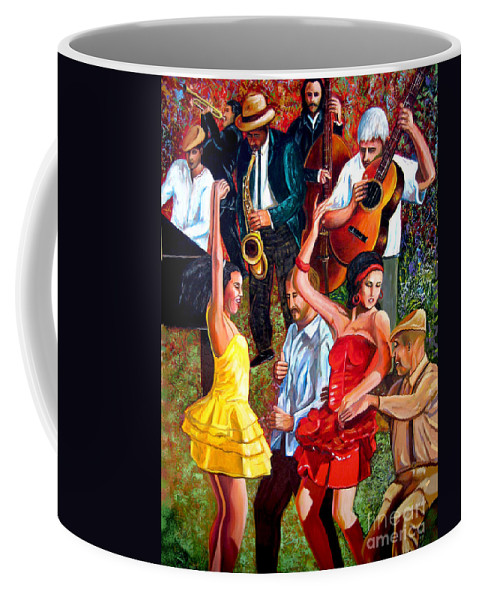 Cuban Art Coffee Mug featuring the painting Party times by Jose Manuel Abraham