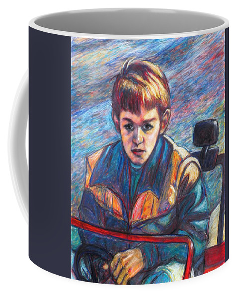 Impressionism Coffee Mug featuring the painting Paul in Alans Jeep by Kendall Kessler