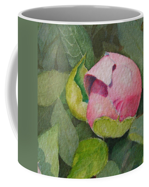 Watercolor Coffee Mug featuring the painting Peony Bud by Mary Ellen Mueller Legault