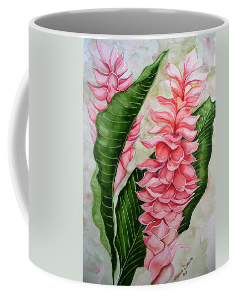 Flower Painting Floral Painting Botanical Painting Ginger Lily Painting Original Watercolor Painting Caribbean Painting Tropical Painting Coffee Mug featuring the painting Pink Ginger Lilies by Karin Dawn Kelshall- Best