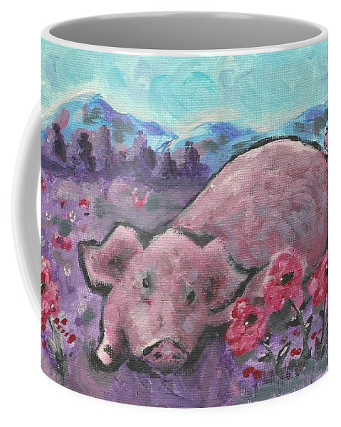 Pig Painting Coffee Mug featuring the painting Playful Pig by Monica Resinger