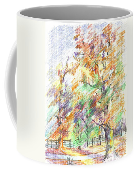 Pleasant Autumn In Brigadoon C104 Coffee Mug featuring the painting Pleasant Autumn in Brigadoon C104 by Kip DeVore