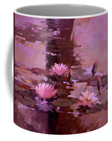 Water Lily Paintings Coffee Mug featuring the painting Pond Blossoms - water lilies by Betty Jean Billups