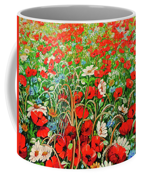 Floral Painting Flower Painting Red Poppies Painting Daisy Painting Field Poppies Painting Field Poppies Floral Flowers Wild Botanical Painting Red Painting Greeting Card Painting Coffee Mug featuring the painting Poppies In The Wild by Karin Dawn Kelshall- Best