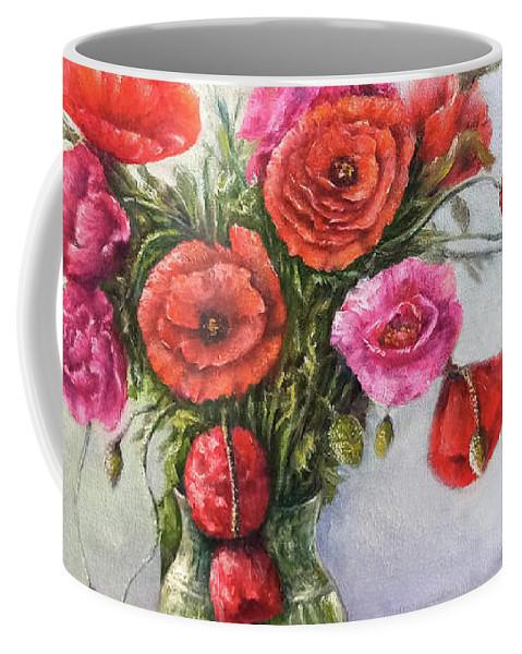Poppy Coffee Mug featuring the painting Poppy flowers by Natalja Picugina