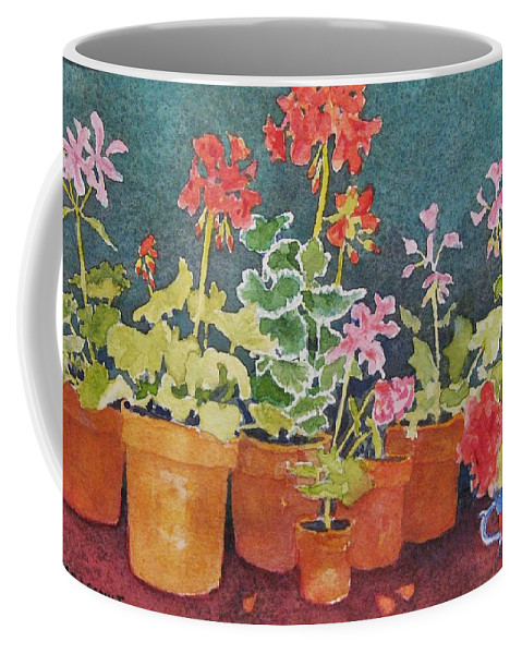 Florals Coffee Mug featuring the painting Potting Shed by Mary Ellen Mueller Legault