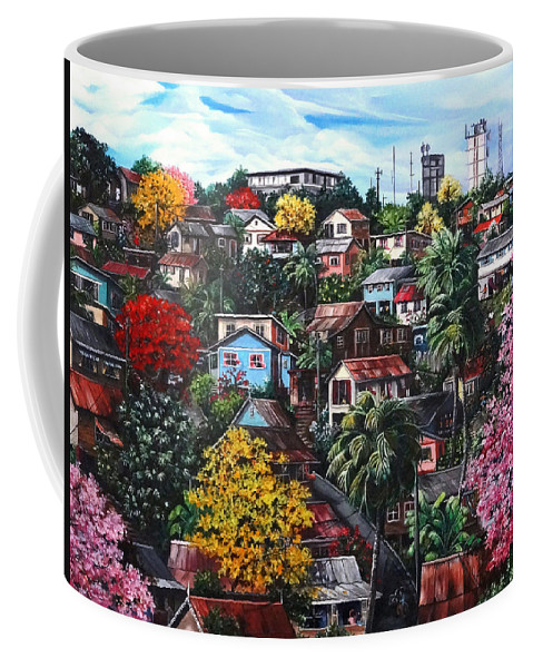 Landscape Painting Cityscape Painting Caribbean Painting Houses Hill Life Color Trees Poui Blossoms Trinidad And Tobago Floral Tropical Caribbean Coffee Mug featuring the painting Poui Calling For The Rains by Karin Dawn Kelshall- Best
