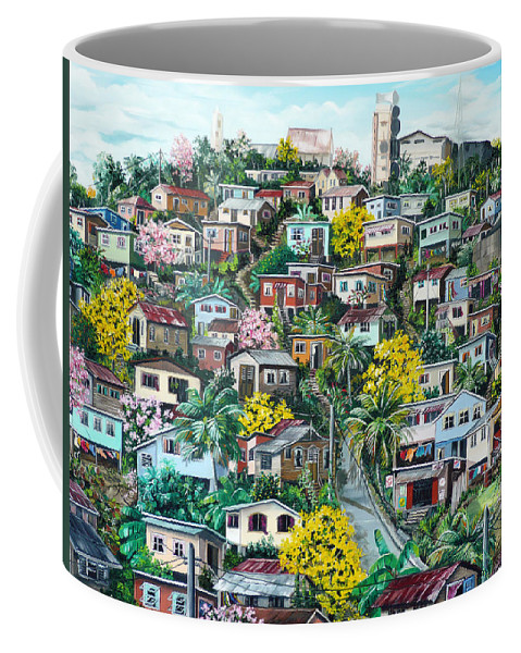 Landscape Painting Cityscape Painting Original Oil Painting  Blossoming Poui Tree Painting Lavantille Hill Trinidad And Tobago Painting Caribbean Painting Tropical Painting Coffee Mug featuring the painting Poui On The Hill by Karin Dawn Kelshall- Best