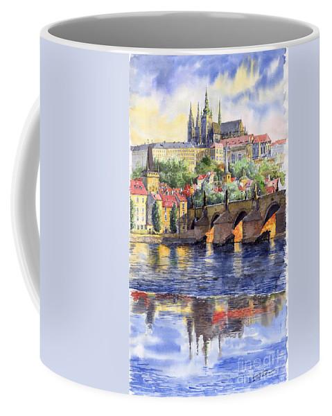 Watercolour Watercolor Prague Praha Cityscape Castle Old City Hous Bridge Coffee Mug featuring the painting Prague Castle with the Vltava River 1 by Yuriy Shevchuk