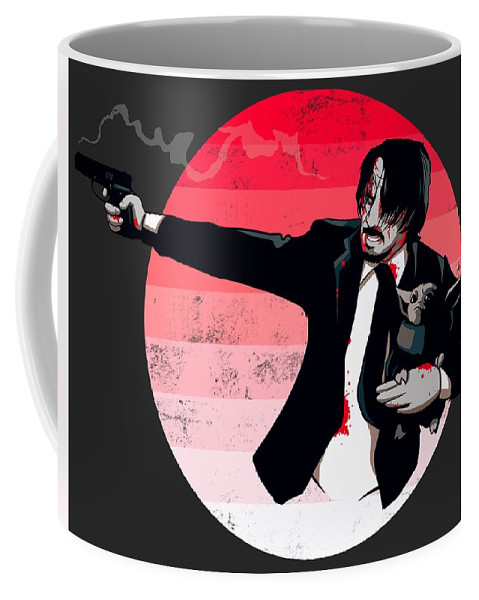Mando Coffee Mug featuring the drawing Protect The Asset by Ludwig Van Bacon