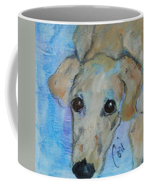 Acrylic Coffee Mug featuring the drawing Pupster by Cori Solomon