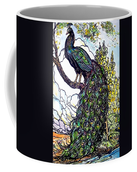 Peacock Coffee Mug featuring the painting Rainbow by Jose Manuel Abraham