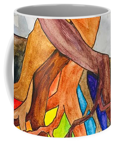 Rainbow Coffee Mug featuring the painting Rainbow Soil with Moon by Vonda Drees