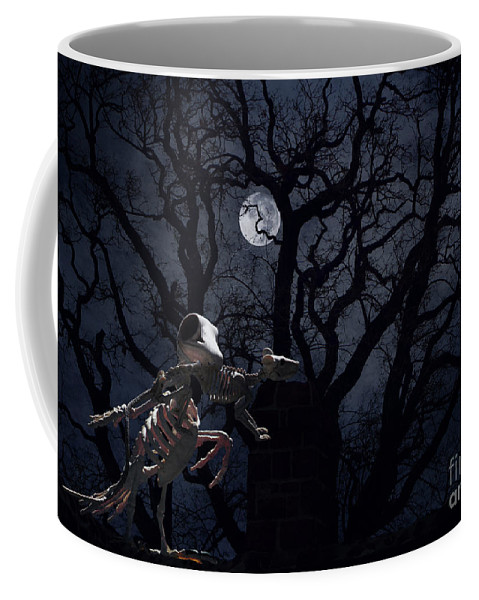 Raven Coffee Mug featuring the photograph Raven and Rat Skeleton in Moonlight - Halloween by Colleen Cornelius