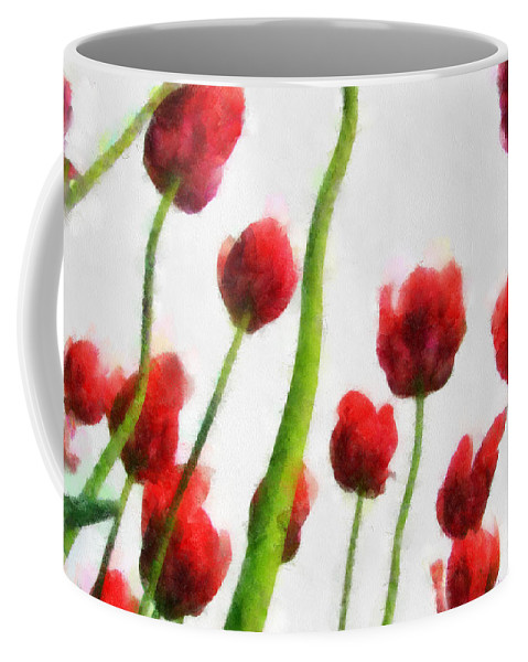 Hollander Coffee Mug featuring the photograph Red Tulips from the Bottom Up I by Michelle Calkins