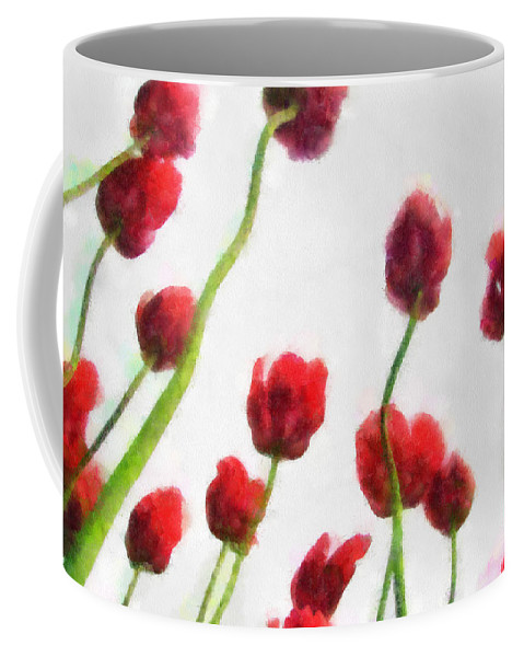 Hollander Coffee Mug featuring the photograph Red Tulips from the Bottom Up ll by Michelle Calkins