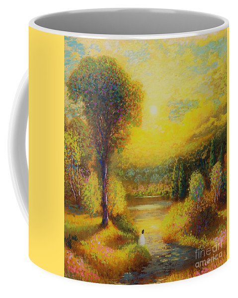 Meditation Coffee Mug featuring the painting Resting in Radiance by Jane Small