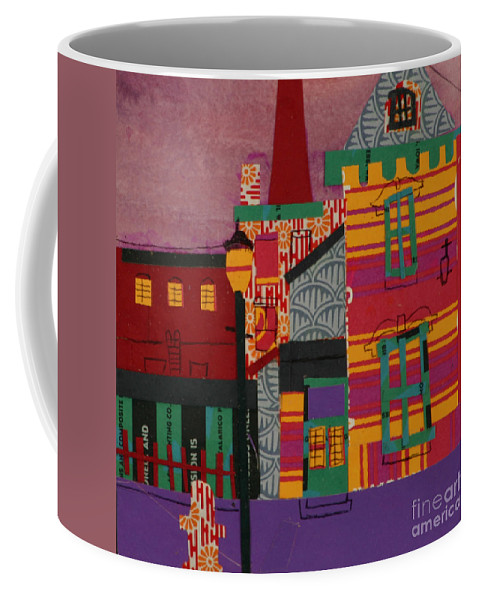 Lowell Coffee Mug featuring the mixed media Revolving Museum by Debra Bretton Robinson