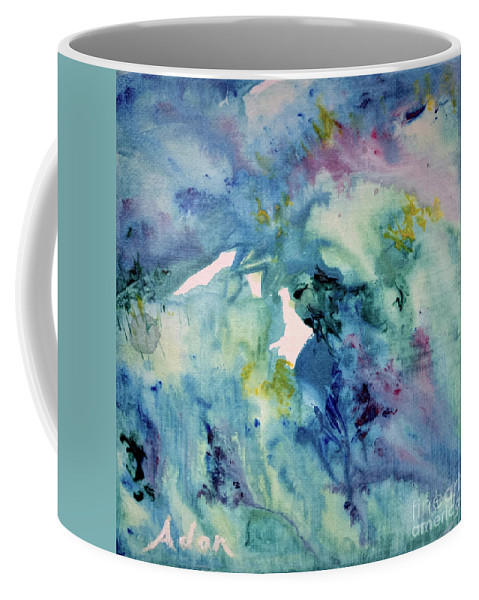Blue Abstract Coffee Mug featuring the painting Ridges of Spring Light 6x6 Acrylic Watercolor #2 by Felipe Adan Lerma