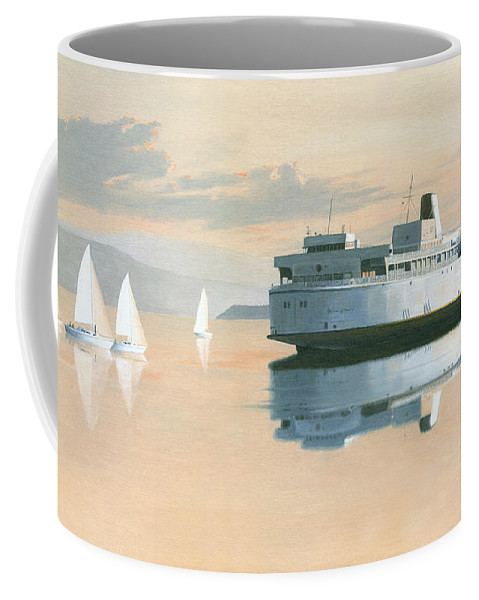 Bc Ferries Coffee Mug featuring the painting Right of way The Queen of Burnaby by Gary Giacomelli