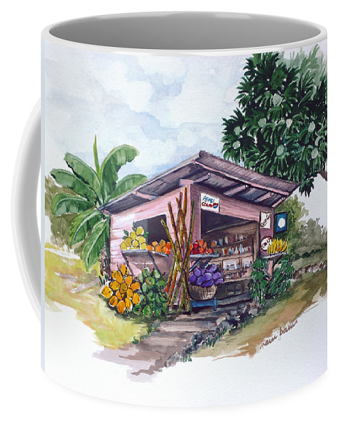 Caribbean Painting Little Shop Fruit & Veg Shop Painting Caribbean Tropical Painting Greeting Card Painting Coffee Mug featuring the painting Roadside Vendor by Karin Dawn Kelshall- Best