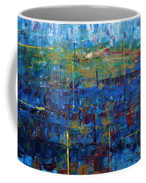 Abstract Coffee Mug featuring the painting Rona Blues by Jimmy Clark