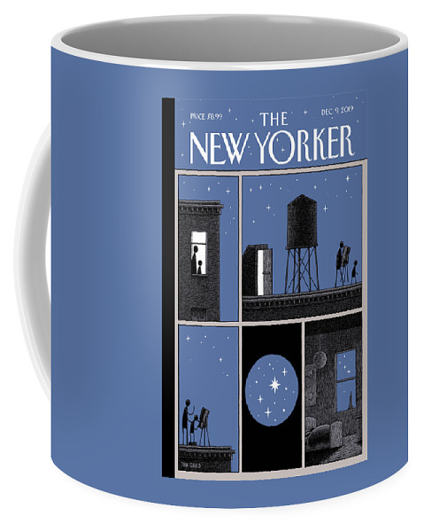 Rooftop Astronomy Coffee Mug featuring the drawing Rooftop Astronomy by Tom Gauld