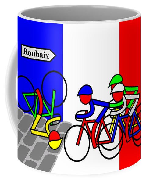 Roubaix Coffee Mug featuring the mixed media Roubaix by Asbjorn Lonvig