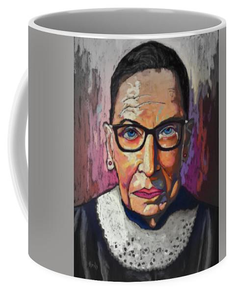 Ruth Coffee Mug featuring the mixed media Ruth Bader Ginsburg 2 by David Hinds