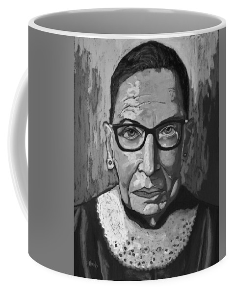 Ruth Coffee Mug featuring the painting Ruth Bader Ginsburg - Black and White by David Hinds