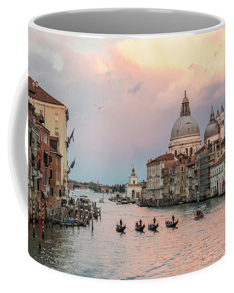 Fine Art Coffee Mug featuring the photograph Sam_0343 - Four Gondolas In The Sunset On The Gran Canal, Venice by Marco Missiaja