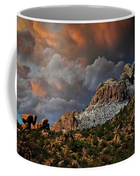Sandias Coffee Mug featuring the photograph Sandia Mountain Light Show by Zayne Diamond Photographic