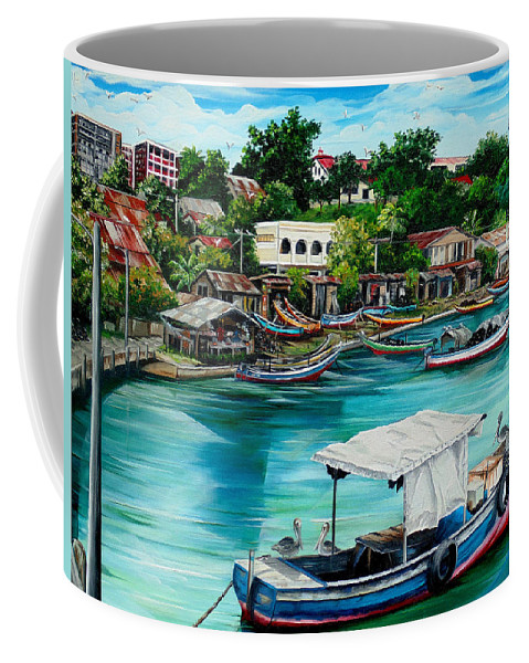 Ocean Painting Sea Scape Painting Fishing Boat Painting Fishing Village Painting Sanfernando Trinidad Painting Boats Painting Caribbean Painting Original Oil Painting Of The Main Southern Town In Trinidad  Artist Pob Coffee Mug featuring the painting Sanfernando Wharf by Karin Dawn Kelshall- Best