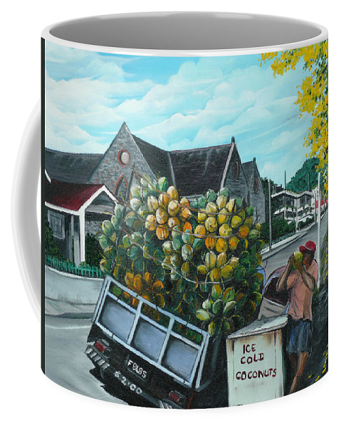 Caribbean Painting Coconuts Vendor Trinidad And Tobago Painting Savannah Paintings  Poui Tree Painting Tropical Painting Coffee Mug featuring the painting Savannah Coconut Vendor by Karin Dawn Kelshall- Best