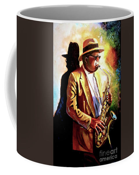 Sax Coffee Mug featuring the painting Sax Player by Jose Manuel Abraham