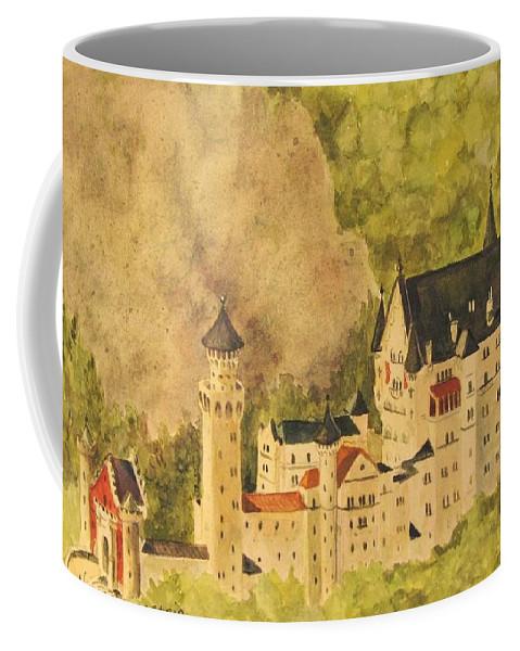 Travel Coffee Mug featuring the painting Schloss Neuschwanstein by Mary Ellen Mueller Legault