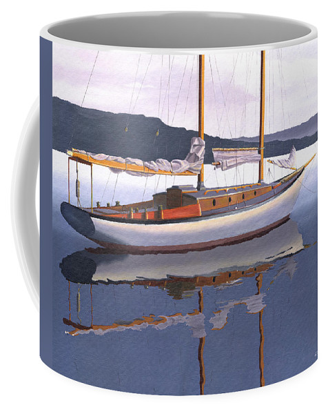 Schooner Coffee Mug featuring the painting Schooner at dusk by Gary Giacomelli