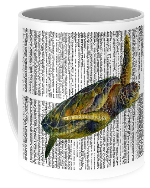 Underwater Coffee Mug featuring the painting Sea Turtle 2 on Dictioinary by Hailey E Herrera