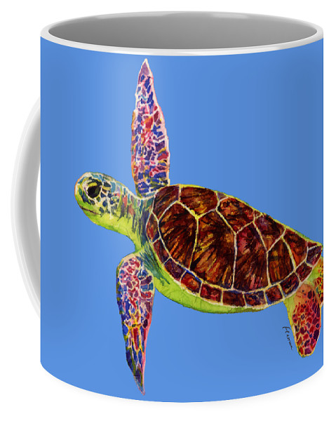 Turtle Coffee Mug featuring the painting Sea Turtle on Blue by Hailey E Herrera