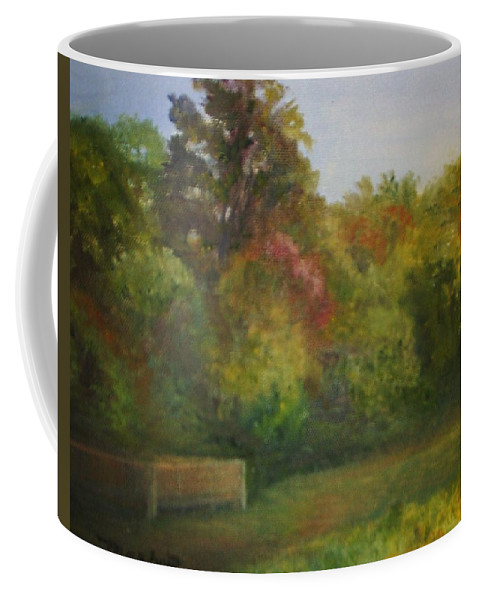 September Coffee Mug featuring the painting September in Smithville Park by Sheila Mashaw