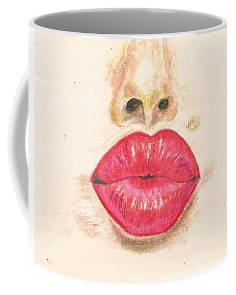Sexy Red Lips Coffee Mug featuring the painting Sexy Red Lips by Monica Resinger
