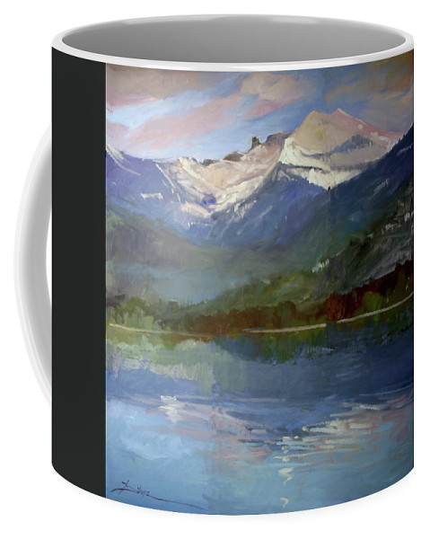 Murals Coffee Mug featuring the painting Shadows of Winter, Chimney Rock, Priest Lake by Betty Jean Billups