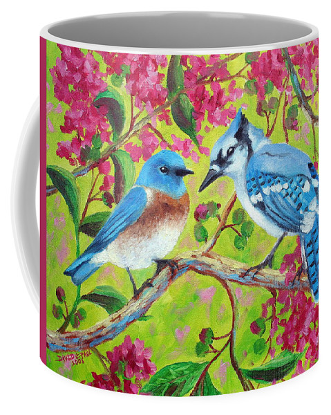 Birds Coffee Mug featuring the painting Sharing A Branch by David G Paul