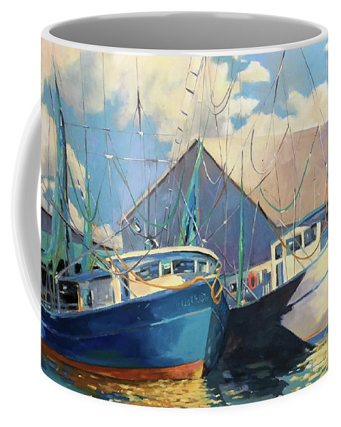 Shrimp Boats Coffee Mug featuring the painting Shrimp Boats by Chris Gholson